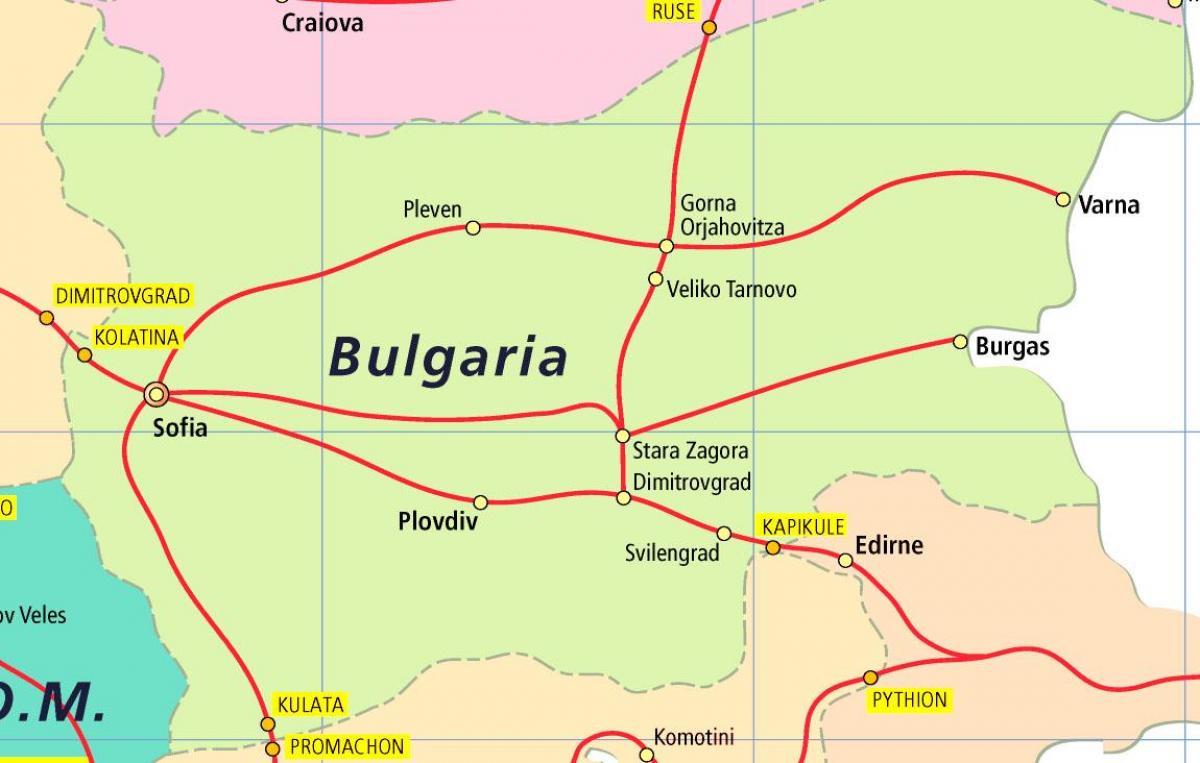 Bulgarian Rautatiet Kartta Bulgaria Juna Kartta Ita Eurooppa